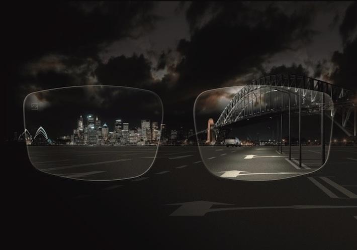 Sicht bei Nacht mit Brillengläsern, die wir mit Augen-Scanning-Technologie berechnet haben.