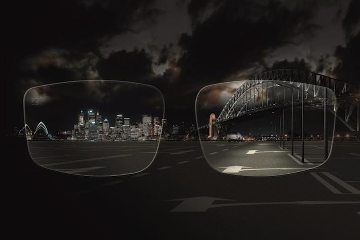 Sicht bei Nacht durch Brille fotografiert